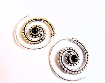 White Brass Dotted Design Spiral Earrings Black Onyx Turquoise Moonstone Gemstone Tribal Earrings Jewellery Free UK Delivery Gift Boxed