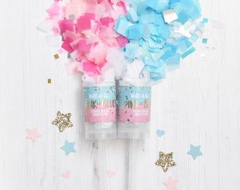 Pink or Blue, Girl or Boy Gender Reveal Confetti Pop, Confetti Popper, Confetti Push-Pop
