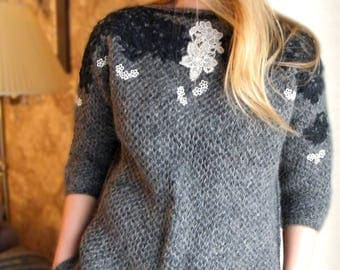 Reserved/Dark grey sweater/Hand knit Eco wool sweater/Sweater with lace/Hot fashion trends