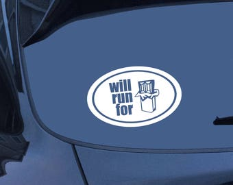 Car Sticker, Will Run for Chocolate, Runner, Car Decal, Window Sticker, Window Decal, Chocolate