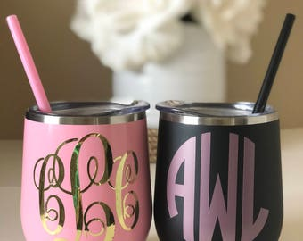 Monogrammed Stainless Steel Wine Tumbler 12oz Cup Personalized, Lid and Straw, Bachelorette Bridal Wedding Gifts
