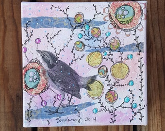 "Patiently Waiting- gallery wrapped canvas 6x6"" Mixed Media Collage, bird"