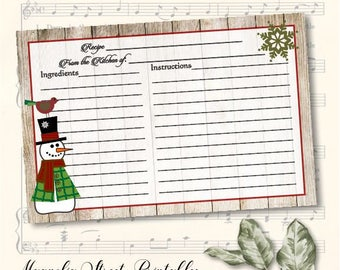Snowman Recipe Card, Christmas Recipe Card, 4 x 6, Holiday Recipe Card, Instant Download Recipe Card