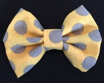 Mustard Yellow with Gray Dot Bow