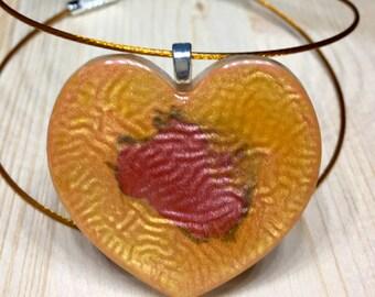 Orange Heart Resin-resin pendant handpainted