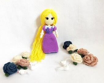 Rapunzel Princess Crochet, nursery decor, Princess amigurumi, Crochet princess, Baby gift, Girl gift, Gift, Birthday Gift, Toy, Doll