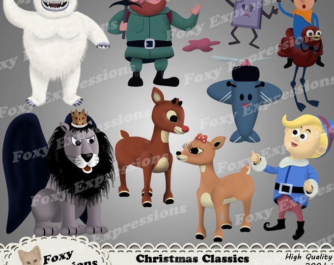 Classic X-mas Characters pack 2 clipart comes with 9 pieces. Bumble, Yukon Cornelius, Hermey the Elf, Rudolph, Clarice, King Moonracer, etc