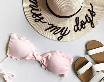I miss my dog / I miss my dogs - Custom Sequin Lettering Straw Sun Beach Hat -