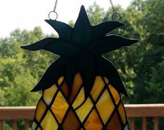 "Pineapple Stained Glass Suncatcher, 8"" x 5.5"""