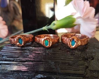 opal copper ring  - electroformed jewelry - copper ring - molten copper- crystal ring - magick