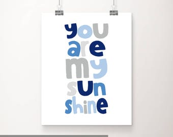 You Are My Sunshine Printable Wall Art, Navy Blue Gray Kids Wall Art Printable, Blue Gray Printable, Baby Boy Nursery Decor, Boy Baby Shower