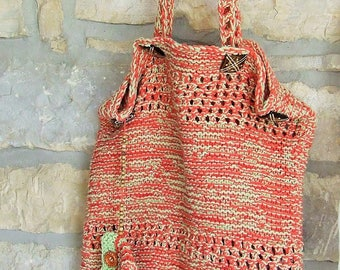 Hand knitted cotton shoulder bag - Cotton knit market bag with purse in orange and lime green