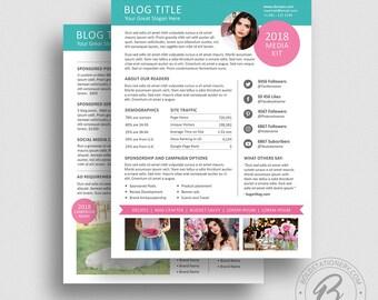Blog Media Kit Template 01 - Ad Rate Sheet Template - Press Kit - Pitch kit