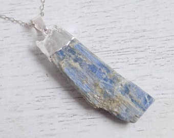 Gift For Her, Silver Kyanite Necklace, Blue Kyanite Necklace, Raw Kyanite Necklace, Kyanite Pendant, Layer Necklace, Boho Necklace, 8-516