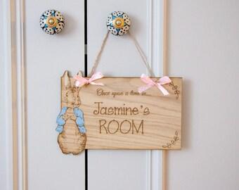 Peter Rabbit Nursery Sign, Baby Shower Gift, Personalised Nursery Door Sign, Nursery Decor, Beatrix Potter Door Sign, Baby Boy Baby Girl