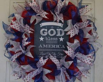 Deco Mesh Wreath, 4th of July Wreath, Summer Wreath, Patriotic Sign, Patriotic Wreath, Front Door Wreath, Fourth of July, Door Decor, Decor