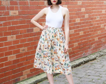 Vintage 1970s Novelty Print Skirt / Island Print / 1970s Skirt / Novelty Print Skirt / Floral Skirt / XS/S