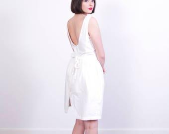 Vintage 1970s White Cotton Sundress / Button Back / Tank Dress / Scoop Back / White Cotton Dress / M
