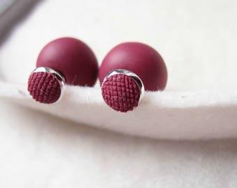 Double Pearl Color Marsala earrings-tribal earrings-double side Marsala earring-double ball earrings-sided earrings