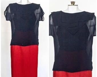 Sheer black blouse with kerchief collar