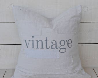 vintage grain sack style pillow cover. available in 16x16, 18x18, 20x20, 16x26 or custom. patches optional.