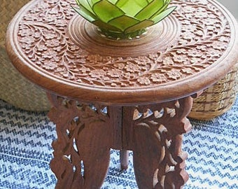 Vintage Timber Carved Side Table Mother of Pearl Inlay Boho / Jungalow Style