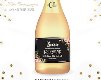 Thank You for Being My Bridesmaid Mini Champagne Bottle Labels, Maid of Honor Gift, Bridesmaid Mini Wine Label, Ask Bridesmaids Mini Labels