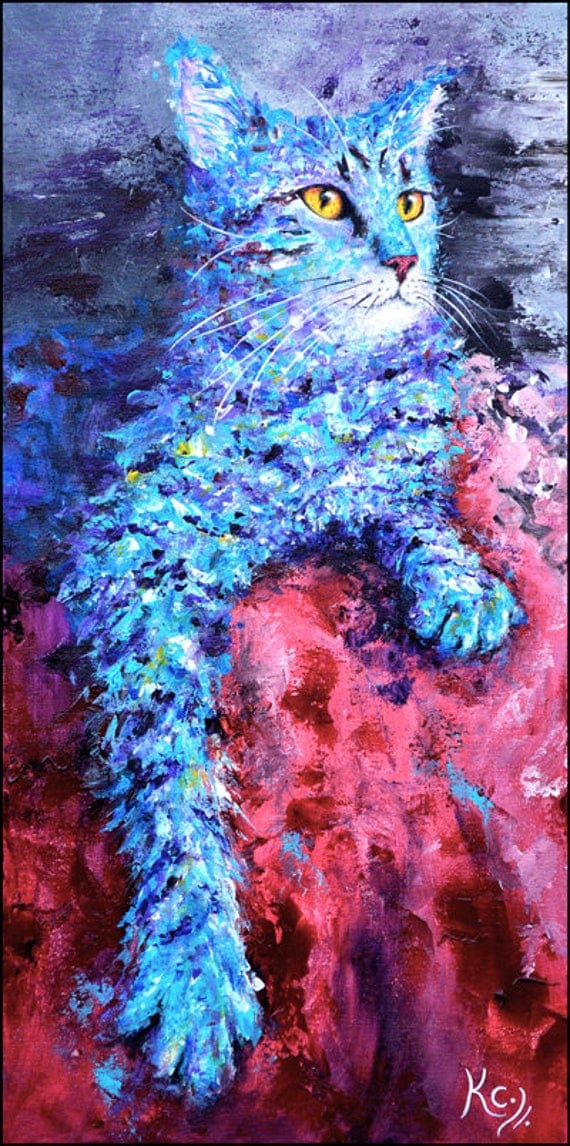 Cat Painting on Canvas. Blue Cat Wall Art. Cat Art. Cat Lover Gift Idea. Original Painting, Acrylic on Canvas, size 26 x 14 inches.