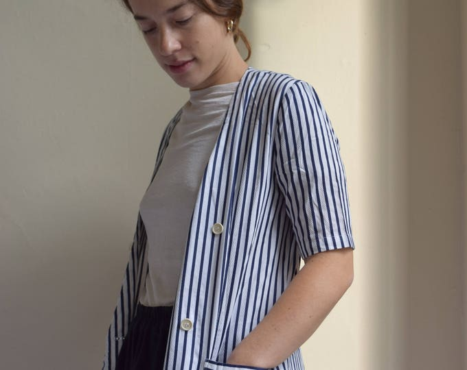 Navy and White Pinstriped Dress