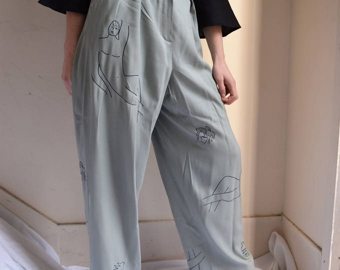 Wilson Sage Green Silk Wide Leg Pants