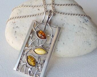 Vintage Baltic Amber Modern Art Pendant Sterling Silver Modernist Chain Necklace, Honey Gold Baltic Amber, Amber Necklace, Amber Pendant 925