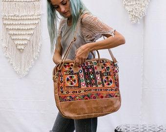 Vintage Embroidery Laptop Bag, Messenger Bag, Computer Bag, Laptop Shoulder Bag, Tribal Leather Laptop Bag 13 / 15 / 17