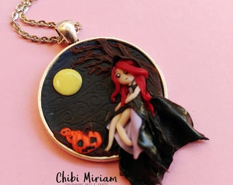 Witch cameo fimo necklace