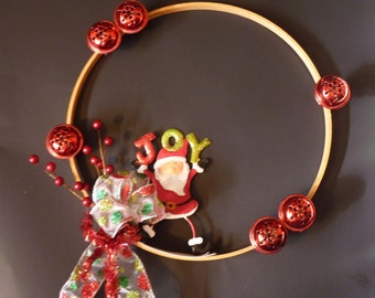 Modern hoop christmas wreath. Modern christmas. Hoop wreath. Santa wreath. Minimal wreath.