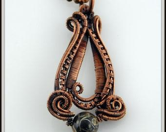 Copper Wire Woven Turritella Agate Pendant, Wire Wrapped Stone Pendant, Copper Turritella Agate Pendant, Copper Necklace,Wire Weave Jewelry