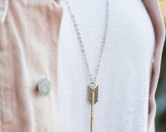 Antique Brass Arrow Necklace, Arrow Necklace, Boho Necklace, Bow and Arrow, Arrow Pendant, Hunting Jewelry, Archery, Antique Brass