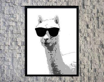 No Drama Llama Print, Llama in Sunglasses, Alpaca sunglasses Print, No Drama Llama