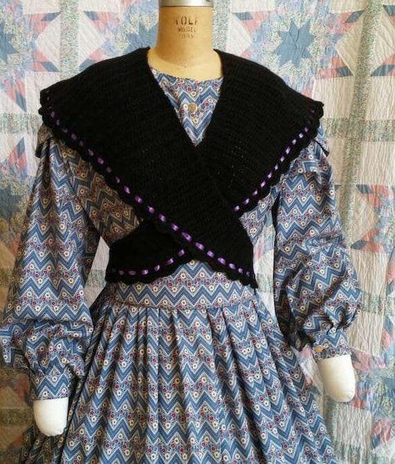 Victorian Jacket, Coat, Ladies Suits | Edwardian, 1910s, WW1 Black sontag with Royal Purple ribbon trimmed edgeBlack sontag with Royal Purple ribbon trimmed edge $65.00 AT vintagedancer.com
