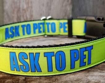 Ask to Pet Dog Collar