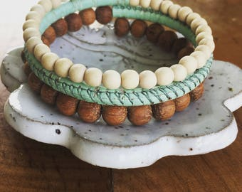 Wood bead and Cork Essential Oil Diffuser Bracelet | Memory Wire Bracelet