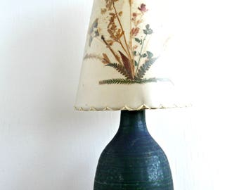 vintage studio pottery lamp small table lamp blue glaze pottery lamp small ceramic
