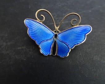 David Andersen Sterling Silver and Enamel Butterfly Brooch. Norway.