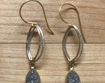 Titanium druzy drop earrings