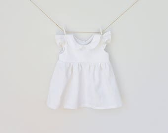 Baptism Baby Dress, Christening Dress, Girl Baptism Dress, Girl Toddler Christening Dress, White Dress, White Linen Dress, Girl Formal Dress