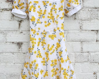 Vintage white yellow floral daisy mod go go 60s mini dress S