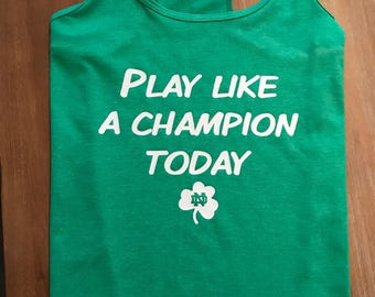 Notre Dame Play Like a Champion Womens Tank, Green