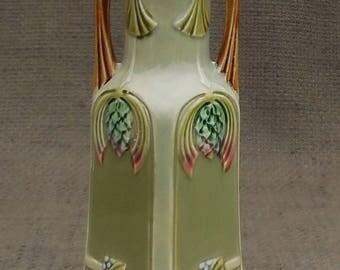 Gorgeous SECESSIONIST Antique Green VASE...MOULDED Decoration...Art Nouveau Elegant Ornament...Vintage Flower Vase Home Decor!