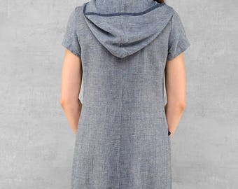 Hooded linen dress, linen clothing, blue linen dress, summer dresses, summer clothing, linen tunic, summer fashion, linen clothes