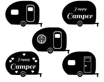 Camper SVG Cut Files Monogram Happy Camping Svg