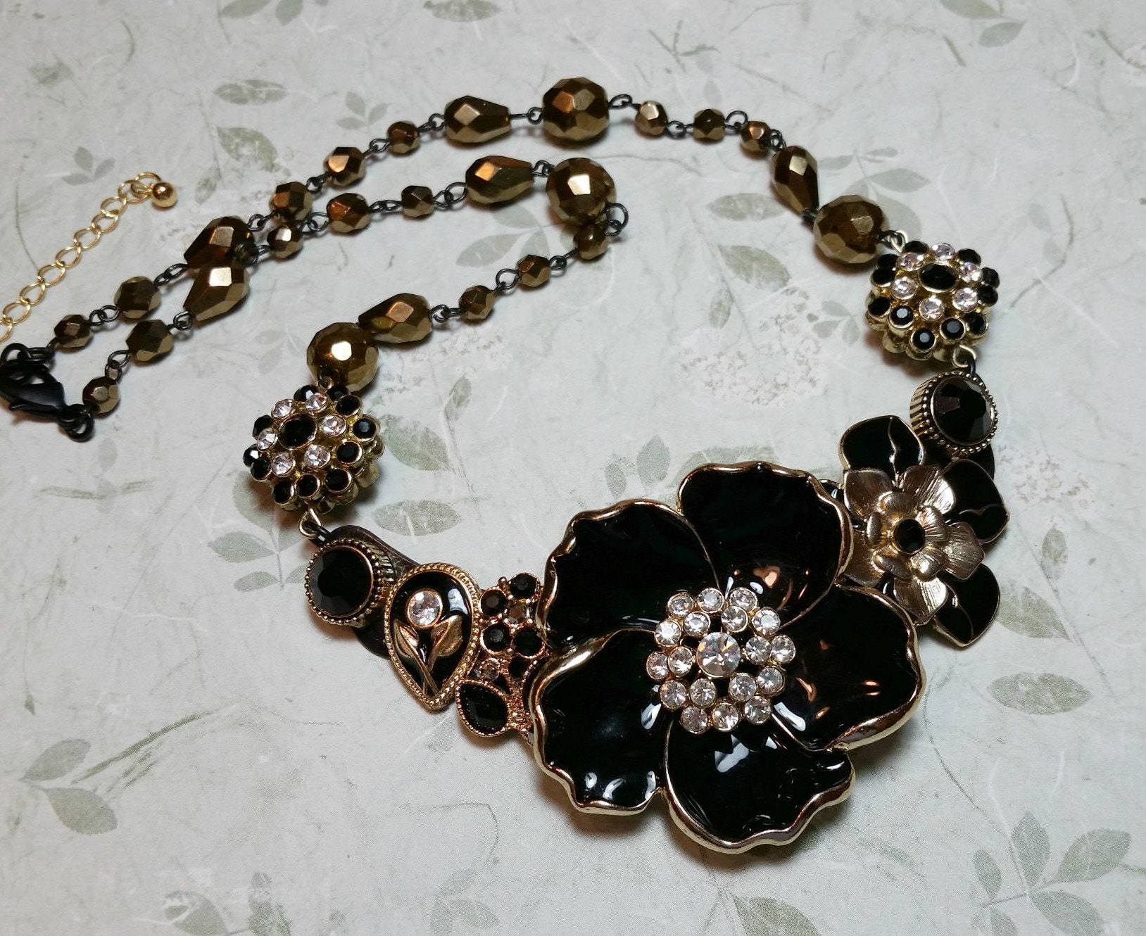 Black u0026 Gold Statement Necklace Repurposed Costume Jewelry Collar Necklace Upcycled Bling & Black u0026 Gold Statement Necklace Repurposed Costume Jewelry Collar ...